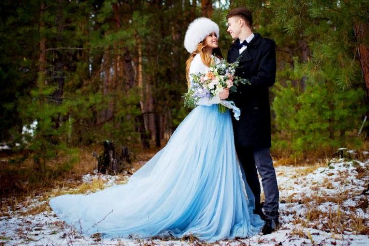 Синее свадебное платье: цвет мечты на страже счастья